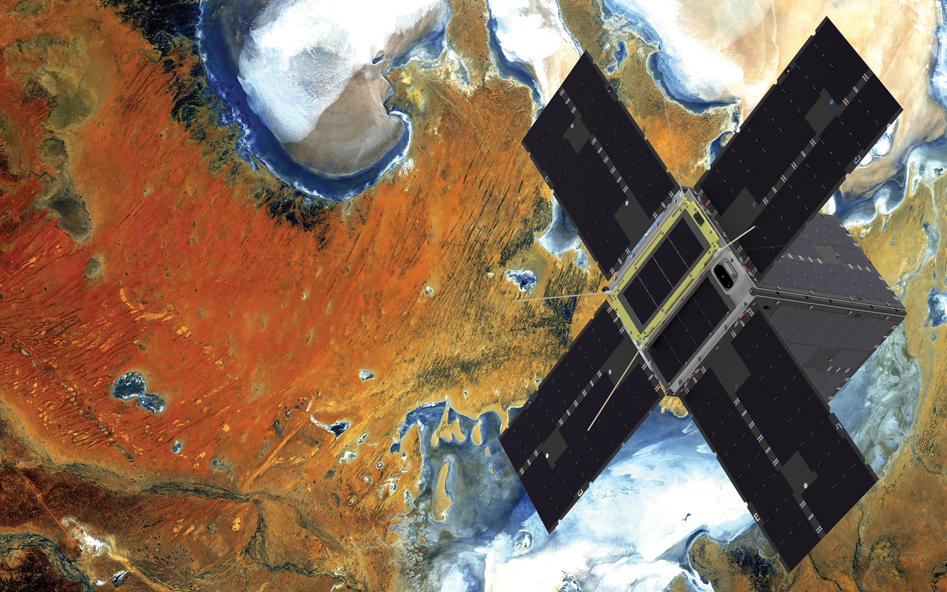 A small satellite passes over Lake Eyre